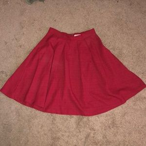 Brick Red Flowy Midi Skirt